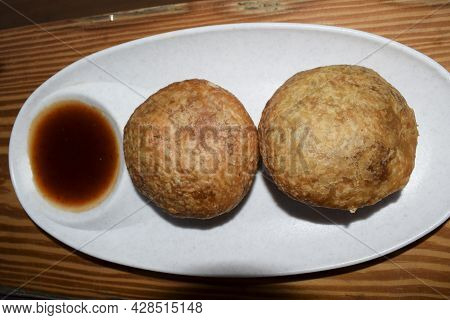 Delicious Popular Indian Teatime Snack Or Breakfast Dish Item Onion Kachori Deep Fried. Top View Kac