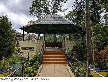 A View Of Tourist Relaxing Place In Natural Arch Rock Garden In Tirumala: Tirumala, Andhra Pradesh,
