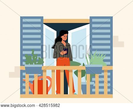 Woman Is Standing With A Cup Of Tea On The Balcony. Outdoor Recreation, Balcony, Morning Coffee. Vec