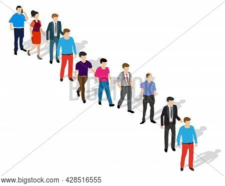 A Queue Of People Waiting For Their Turn Standing On The Street