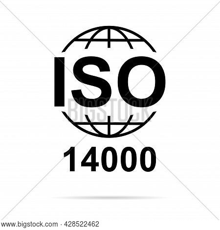 Iso 14000 Icon. Environmental Management. Standard Quality Symbol. Vector Button Sign Isolated On Wh
