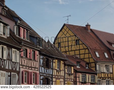 Wonderful Colorful Perspective Of Facades In Colmar In France