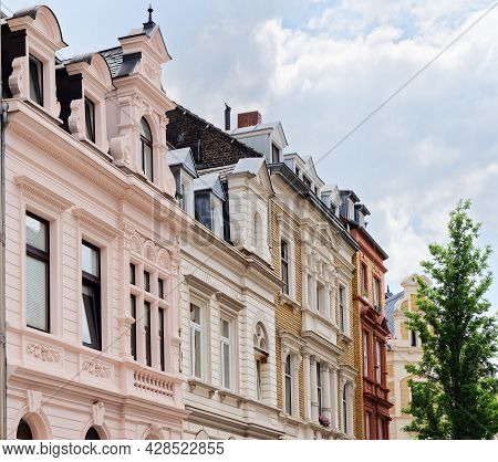 Buildings In Cologne From The Late Nineteenth Century Restored With Pastel Colours