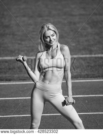 Weight Lifting. Woman Sport Trainer Hold Dumbbell. Healthy Sporty Lifestyle. Sexy Lady In Fitness Sp
