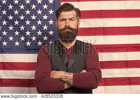 Country First. Follow American Traditions. Man Devoted His Motherland. Independence Day Public Holid