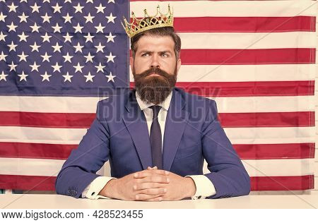 King Of Liberty. Bearded Man Usa Parliament Representative. Patriotic Spirit. Selfish Male In Suit W