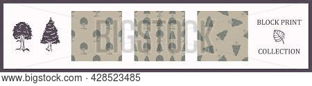 Seamless Background Block Print Collection Tree Set Of 3. Patterns With Motif. Rustic Babies Silhoue