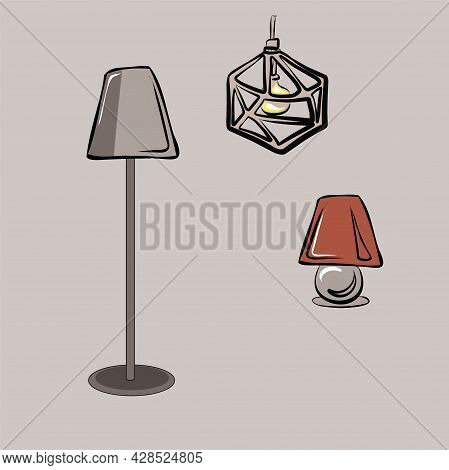 Chandelier, Floor Lamp, Table Lamp, Lamp, Home Lighting. Furniture. Interior. Household Items. Isola