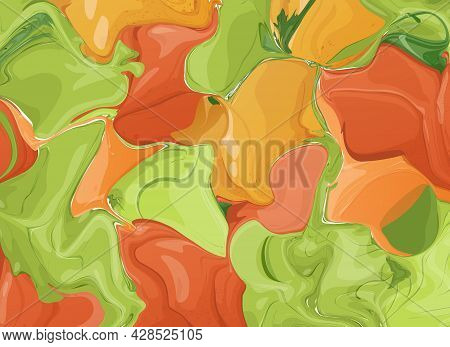 Vector Abstract Horizontal Background Or Wallpaper In Bright Colors. Decoration With Blurs, Spots An