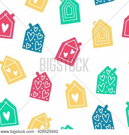 Trendy Seamless Pattern With Original Cute Cartoon Houses In A Whimsical Childlike Style. Vector Ill