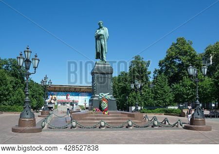 Moscow, Russia - June 17, 2021: Monument To The Russian Poet Alexander Sergeevich Pushkin On Pushkin
