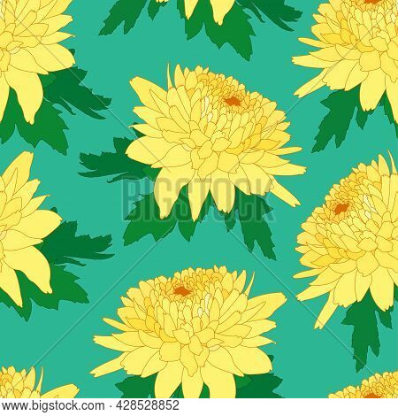 Seamless Decorative Pattern With Light Yellow Chrysanthemum. Crown Daisy Repeated Background. Vector