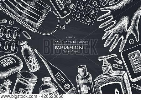 Monochrome Design With Chalk Pills And Medicines, Medical Face Mask, Sanitizer Bottles, Medical Ther