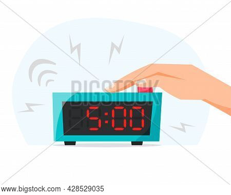 Early Morning And Waking Up Early Concept. Turn Off Ringing Alarm Clock, Pressing Button On Electron
