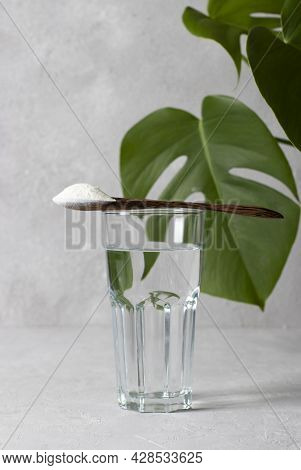 Collagen Powder In Spoon On Glass Of Water On Light Gray Background With Monstera Leaf. Healthy And