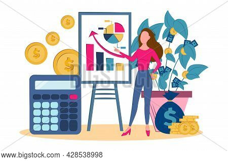 Concept Of The Tax Calculating And Financial Statistics. Statistics, Calculation Of The Financial Ri
