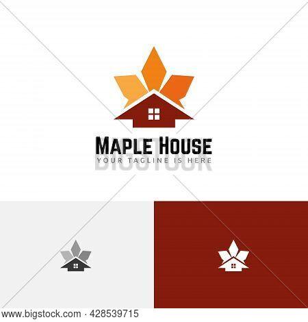 Star Maple Leaf House Home Autumn Fall Season Realty Logo