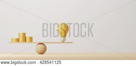 Coin Stack Compare Light Bulb Idea On Wood Scale Seesaw. Money Gold Coin Compare Balance With Knowle