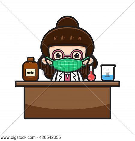 Cute Chemist Teacher Do Experiment Cartoon Vector Icon Illustration. Design Isolated On White. Flat
