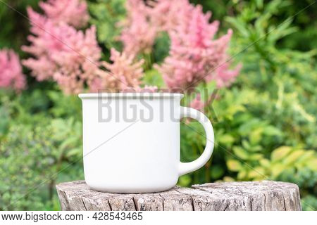 Mug Mockup With Bokeh Green Nature. Farmhouse Rustic Style. White Coffee Cup Mock Up. Blank Mug Prin