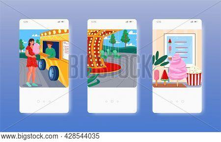 Cotton Candy Food Cart. Popcorn, Ice Cream. Mobile App Screens, Vector Website Banner Template. Ui,