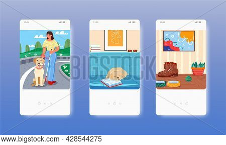 Inclusivity. Blind Girl With Cane And Guide Dog. Mobile App Screens, Vector Website Banner Template.