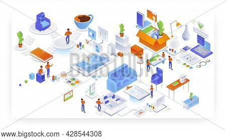 Home Comfort, Furniture Placement. Interior Design And Unloading Services, Vector Isometric Illustra