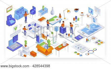 Home Furniture Placement. Unloading And Interior Design Services, Vector Isometric Illustration.