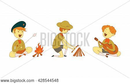 Cute Boy As Junior Scout Making Fire And Playing Guitar At Campsite Vector Set