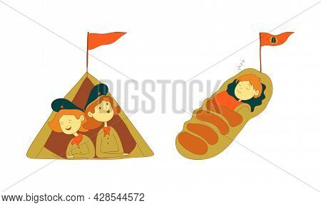 Cute Girl And Boy As Junior Scout In Tent And Sleeping Bag Vector Set