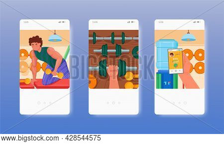 Powerlifting, Weightlifting, Bodybuilding, Gym Workout. Mobile App Screens, Vector Website Banner, W