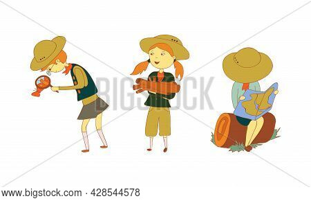 Cute Girl And Boy Junior Scout Watching Map And Butterfly Vector Set