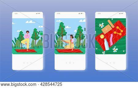 Women Practicing Outdoor Yoga. Healthy Lifestyle. Mobile App Screens, Vector Website Banner, Web Sit