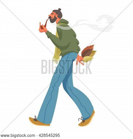 A Smoking Person. A Man Smokes Pipe Tobacco On The Move. Fragrant Tobacco. Leaves