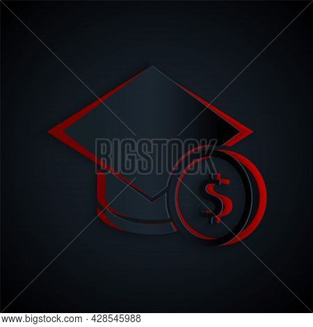 Paper Cut Graduation Cap And Coin Icon Isolated On Black Background. Education And Money. Concept Of