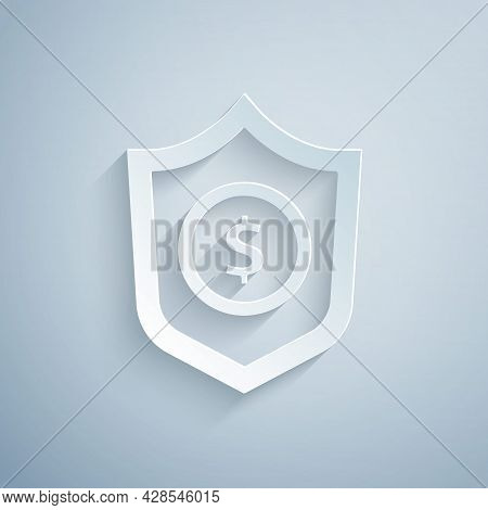Paper Cut Shield With Dollar Symbol Icon Isolated On Grey Background. Security Shield Protection. Mo