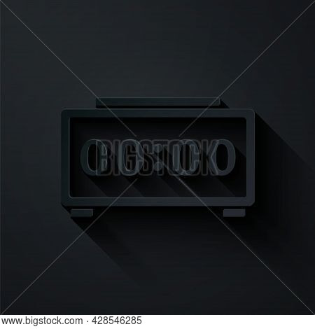 Paper Cut Digital Alarm Clock Icon Isolated On Black Background. Electronic Watch Alarm Clock. Time