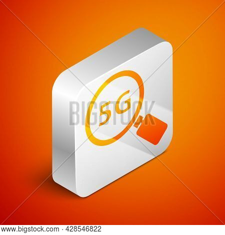 Isometric Search 5g New Wireless Internet Wifi Connection Icon Isolated On Orange Background. Global