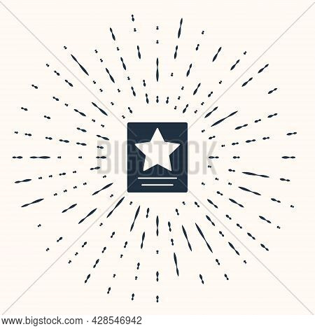 Grey Hollywood Walk Of Fame Star On Celebrity Boulevard Icon Isolated On Beige Background. Famous Si