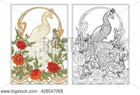 Poster With Peacock And Roses In Art Nouveau Style, Vintage, Old, Retro Style. In Art Deco Style. Pa