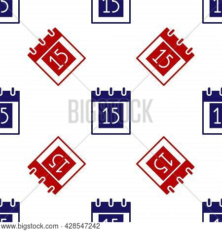 Blue And Red Happy Independence Day India Icon Isolated Seamless Pattern On White Background. Flyer