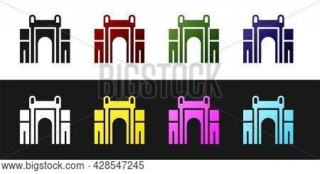 Set India Gate In New Delhi, India Icon Isolated On Black And White Background. Gate Way Of India Mu