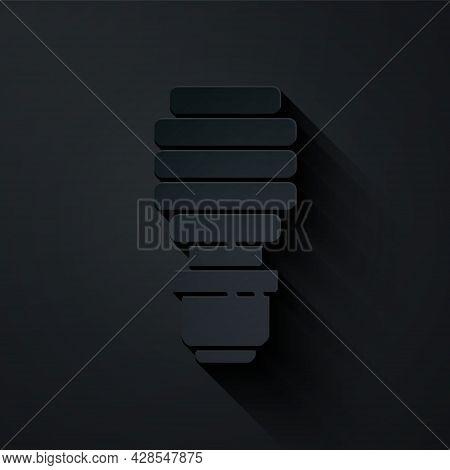 Paper Cut Led Light Bulb Icon Isolated On Black Background. Economical Led Illuminated Lightbulb. Sa