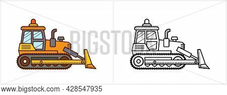 Bulldozer Coloring Page For Kids. Bulldozer Side