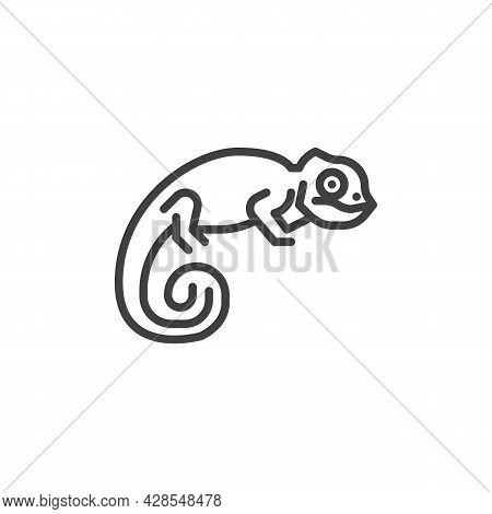 Chameleon Lizard Line Icon. Linear Style Sign For Mobile Concept And Web Design. Chameleon Reptile O
