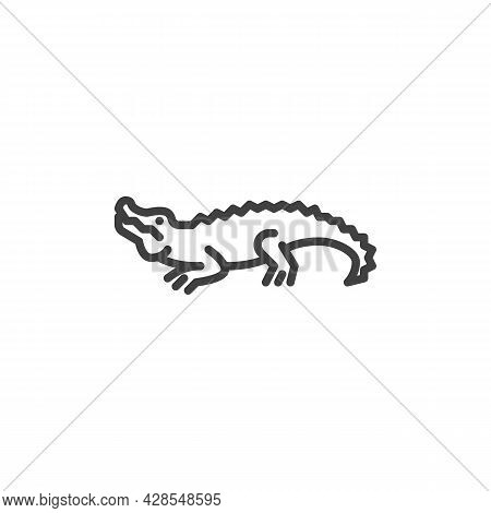 Crocodile Line Icon. Linear Style Sign For Mobile Concept And Web Design. Crocodile Outline Vector I