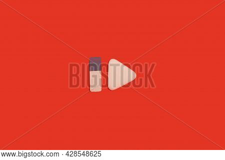 Two Erasers On A Red Background. Office Accessories