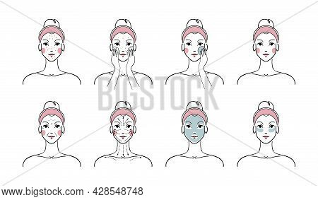Beauty Girl Concept For Facial Skin Care, Beauty Treatments At Home. A Woman Does A Facial Massage A