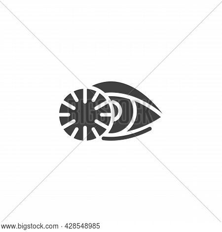 Eye Lens Vector Icon. Filled Flat Sign For Mobile Concept And Web Design. Contact Lens Glyph Icon. S