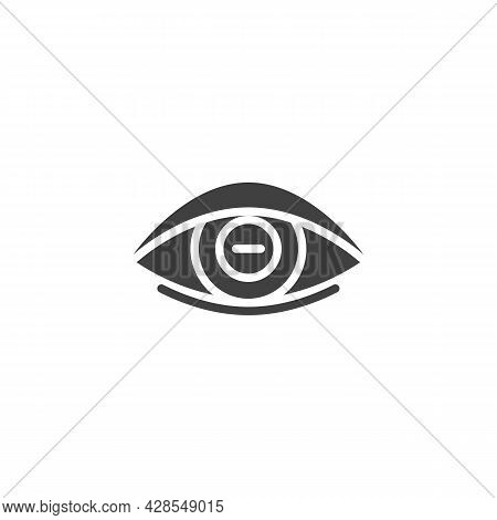 Myopia Eye Lens Vector Icon. Filled Flat Sign For Mobile Concept And Web Design. Human Eye With Minu